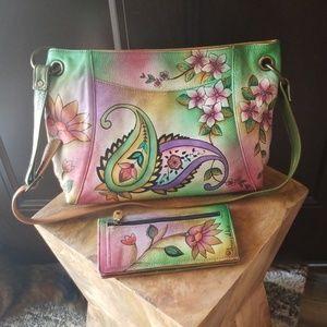 Anuschka Handpainted Leather Handbag & Wallet